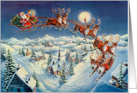 Santa And Flying Reindeer card