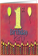 1st Birthday Party card