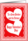 Valentine's Day Card For A Great Brother And His Partner card