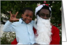 African American Santa and Little Boy Sign Language I Love You card