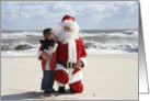 Boy Whispers to Santa card