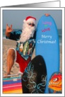 Surfer Santa Christmas at the Beach card