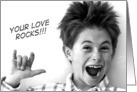 Sign Language Your Love Rocks!, Young Boy in Black and White card