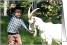 ILY Cowboy feeds goat card