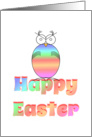 Happy Easter/ Easter Owl/Bird/Pastel/Egg card