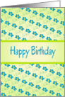 Happy Birthday/Green With Blue Floral Design card