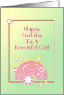 Pink Rainbow Design/Custom Birthday Card For Girl card