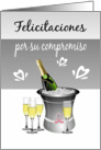 Congratulations/Engagement/Champagne/Hearts/Spanish card