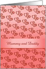 Anniversary/Mummy and Daddy//Hearts/Ribbon/Custom card