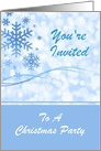 Christmas Party Invitation With Blue Snowflake Design/Custom card