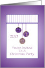 Christmas Party Invitation/Purple Ornaments/Year/Custom card