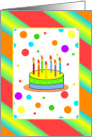 Colorful Happy Birthday With Cake/Stripes/And Dots card