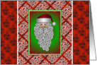 Christmas Card With Bearded Santa And Holiday Design card