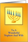 Happy Hanukkah/Menorah/ For Nephew and Wife/Custom card