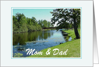 Thank You-For Parents-River Scene-Trees-Old Bridge-Custom card