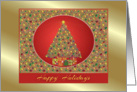 Happy Holidays-Tree-Gifts-Ornaments-Golden Border card