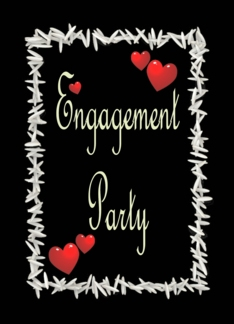 Black Engagement Party Invitation-Ivory on Black-Rice and Hearts Greeting Card
