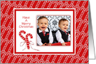 Merry Christmas-Candy Canes-Custom-Photo Card