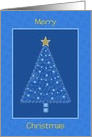 Blue Christmas Tree and Gold Star-Customizable Card