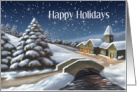 Holiday Snow Scene With Church And Bridge card
