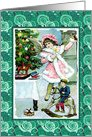 Celebrating Christmas-Girl With Toys-Christmas Tree card
