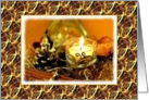 Christmas-Candle-Pine Cone-Gold Ribbons, card