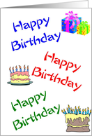 A Birthday Card - Presents and Cakes card