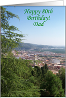 Dad 80th Birthday Card - Town in a Valley card