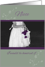 Niece Flower Girl Invitation sage and plum card