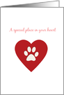 A Special place in your heart pet sympathy card