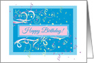 Streamers and Confetti Happy Birthday card
