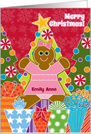Custom Christmas Gingerbread Girl Personalize for Any Name Emily Anne card