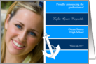 High School Graduation Photo Announcements Anchor Nautical Blue card