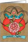 Mummy Daddy Happy Anniversary Bluebirds Roses Hearts on Kraft Look card