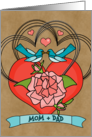 Mom Dad Happy Anniversary Bluebirds Roses Hearts on Kraft Look card