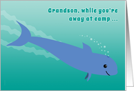 Grandson Away at Camp Porpoise Diving into the Ocean Fun card