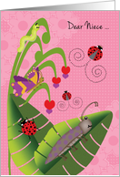 Niece at Camp Cute Beetle Ladybugs Butterfly Inchworm card