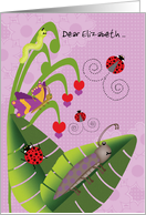 Girl at Camp Add Custom Name Cute Beetle Ladybugs Butterfly Inchworm card