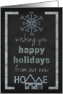 Christmas Happy Holidays New Address Announcement Chalkboard Look card