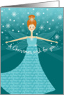 Granddaughter Christmas Wish Fairy with Red Hair on Aqua and Blue card