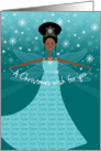 Sister Christmas Wish Fairy African American Ethnic Black card