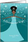 Customizable Name Christmas Wish Fairy African American Ethnic Black card