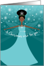 Cute African American Black Ethnic Christmas Wish Fairy Snowflakes card