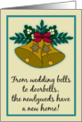 Christmas New Address Announcements Newlyweds Vintage Look Bells card