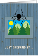 Child at Summer Camp Thinking of You Cute Spider Dropping by Rustic card