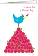 Valentine's Day for the One I Love Blue Bird on Pile of Red Roses card