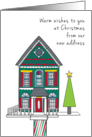Christmas New Address We've Moved Announcement Birdhouse and Tree card