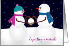Christmas Pregancy Expecting Baby Announcement with Snowman card