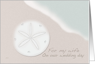 For My Wife on Our Wedding Day Sand Dollar and Ocean Beach card