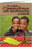 Kwanzaa Photo Cards Grandma Kente Kinara and Corn on Wood Look card
